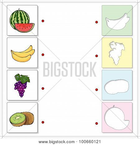Watermelon, Banana, Grapes And Kiwi. Educational Game For Kids