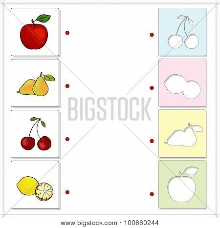 Apple, Pear, Cherry And Lemon. Educational Game For Kids