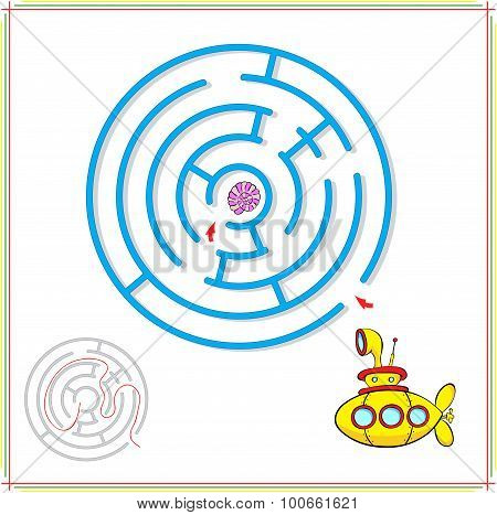 Yellow Submarine Must Pass Through A Maze And Find Rare Shell On The Ocean Floor