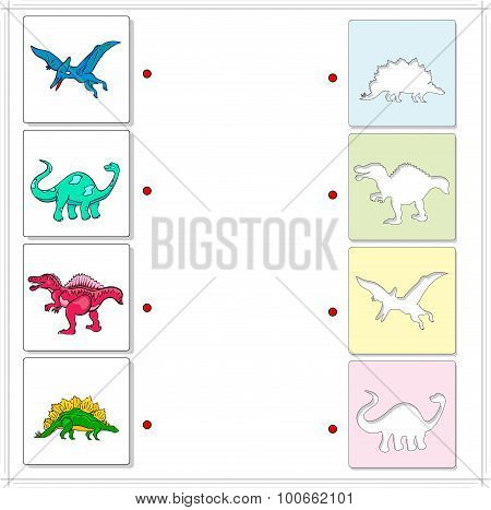 Pterodactyl, Diplodocus, Tyrannosaurus And Stegosaurus. Educational Game For Kids