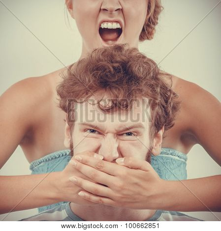 Fury Woman Screaming While Covering Mouth Her Man