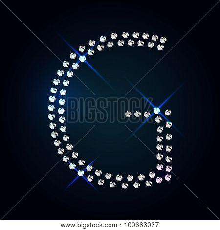 Gems G letter. Shiny diamond font.
