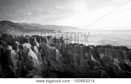 Panorama pancake rocks scenic view mountains Concept