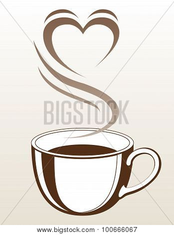 Coffee or Tea Cup With Steaming Heart Shape