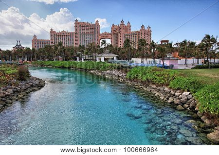 Sun blue sky and puffy clouds at Atlantis hotel Paradise Island Bahamas