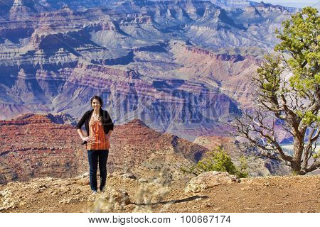 Beautiful Biracial Teen Girl Standing At The Grand Canyon