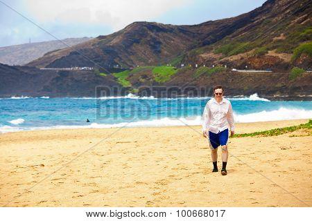 Caucasian Man In Mid Forties On Hawaiian Beach