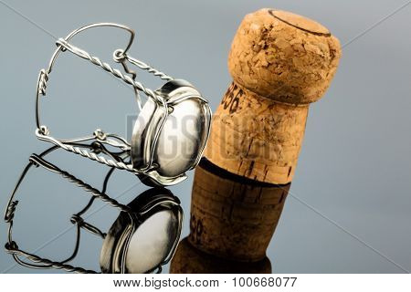 champagne corks and clasp, symbol photo for celebrations, enjoyment and alcohol consumption