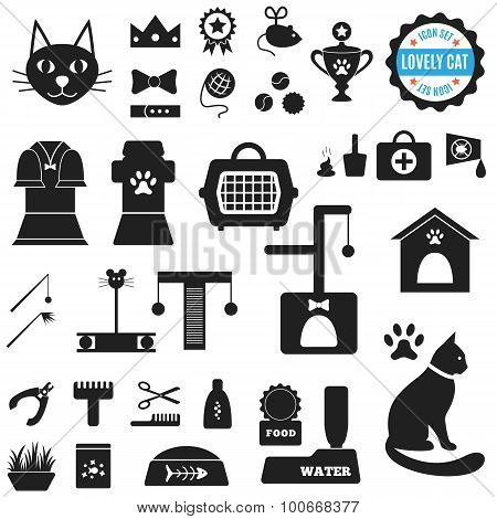 Great set of icons about Lovely Cat. Vector illustration for pet