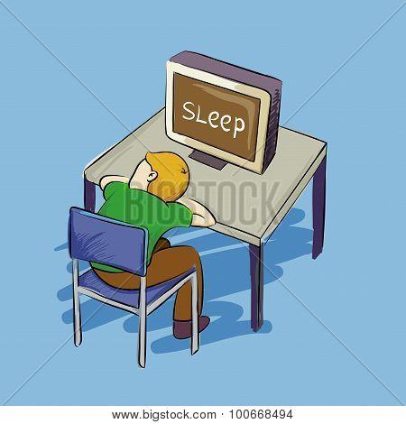 Man Falling Asleep Infront Of Computer