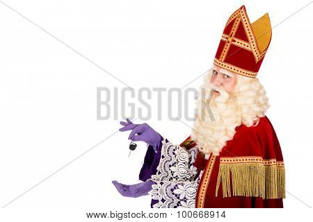 Sinterklaas with Car Key. isolated on white background. Dutch character of St. Nicholas and Black Pete