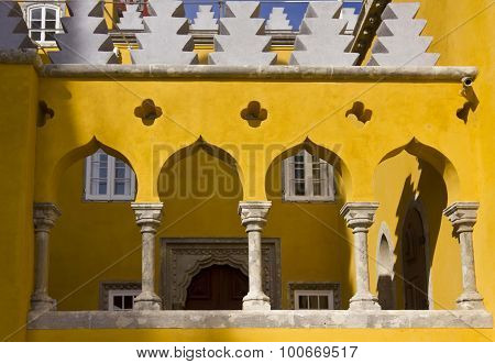 Arch Columns In The Court Of Pena Palace
