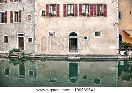 Old medieval houses and water canals in Annecy France