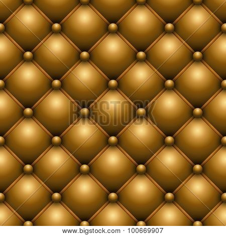 Seamless yellow buttoned leather upholstery vector texture.