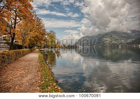Lakefront autumn colors in Zell am See Salzkammergut Austria
