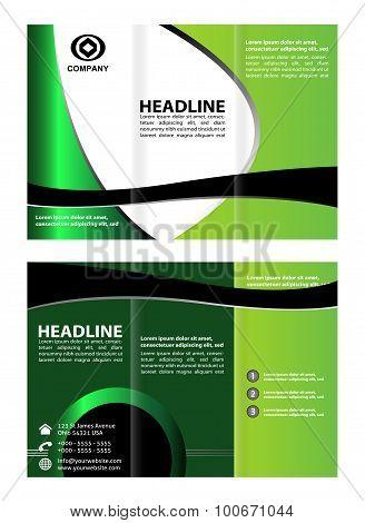 Tri-fold brochure design. Brochure template design in shades green