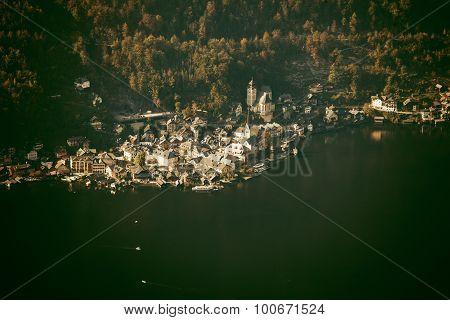 Aerial view of Hallstatt lake and town Salzkammergut Austria