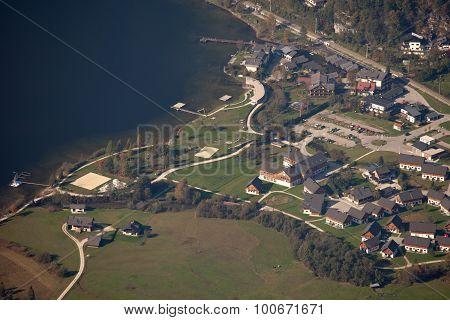 Aerial view of Obertraun and Hallstatt lake Salzkammergut Austria