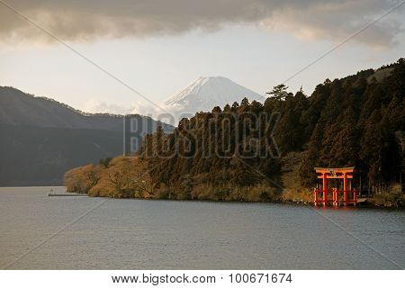 Majestic views of Mount Fuji and a shrine gate Hakone Japan