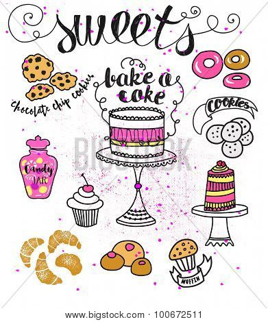 Doodle Sweets - Cartoon style illustration of different sweets, including cakes, donuts, chocolate chip cookies, candies and croissants. Hand drawn illustration