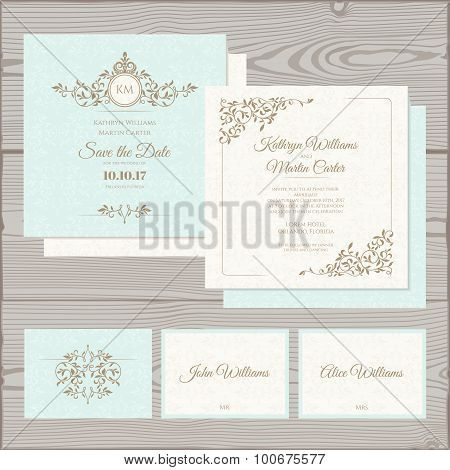 Wedding Classic Set. Invitation, save the date, card place card.