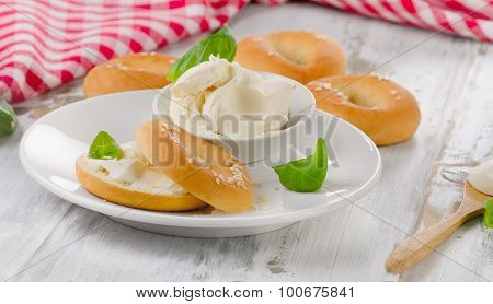 Bagels With Cream Cheese For A Breakfast.