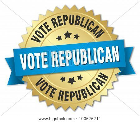 Vote Republican 3D Gold Badge With Blue Ribbon