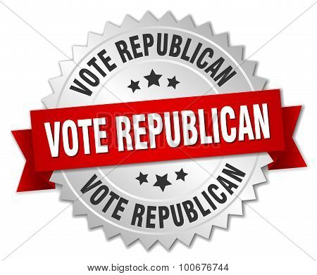 Vote Republican 3D Silver Badge With Red Ribbon