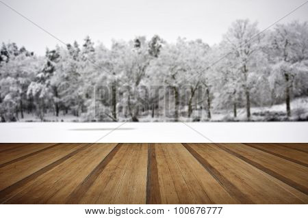 Beautiful Landscape Of Glistening Frost And Snow Covered Trees With Wooden Planks Floor