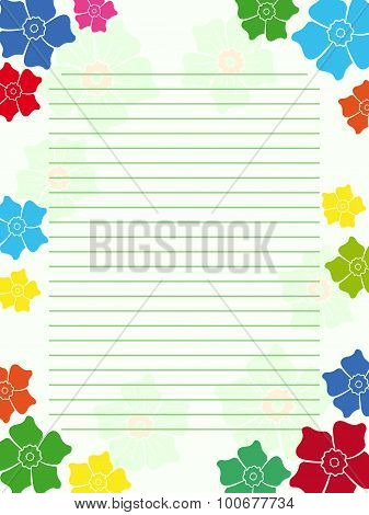 Notepad Empty Blank With Floral Frame