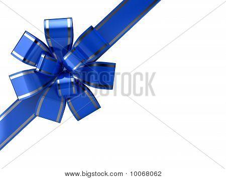 Blue Ribbon Over White