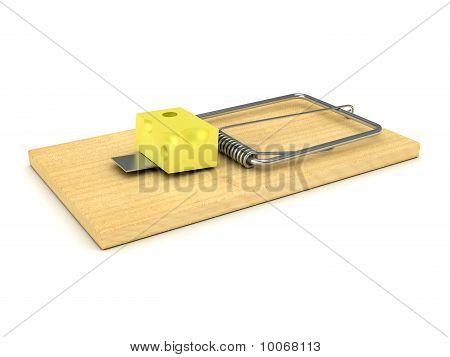 Ratonera madera sobre blanco