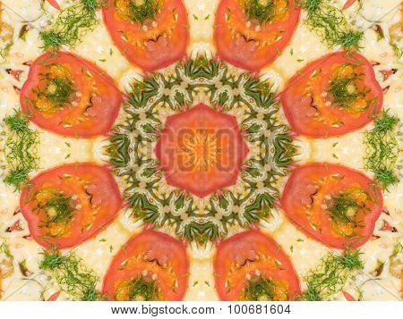 Orange Color Drawing In Kaleidoscope Pattern