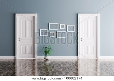 Interior With Two Doors And Frames