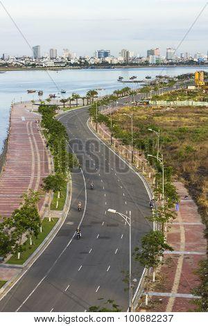 Road along the river in Da nang