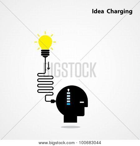 Idea Charging Idea Concept.i Need Idea Concept. Businessman Head And Creative Light Bulb. Business A