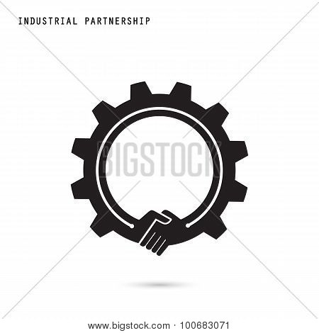 Creative Handshake Sign And Industrial Idea Concept Background, Design For Poster Flyer Cover Brochu