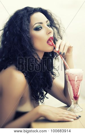 Cute Playful Womansipping Cocktail