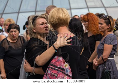 Kiev, Ukraine - September 04, 2015: Women In Mourning Garb Express Support For Each Other At The Fun