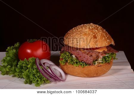 Burger And Vegetables