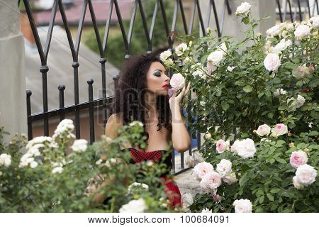 Splendid Young Woman Smelling Rose Flower