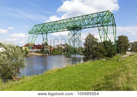 Historic transporter bridge at Osten, Lower Saxony, Germany