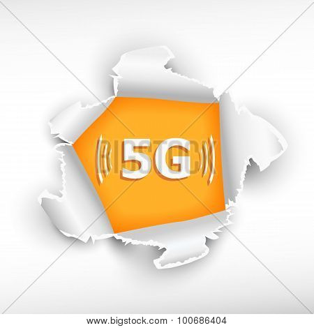 5G Mode Technology Icon And Breakthrough Paper
