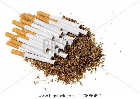 Cigarettes On A Heap Of Loose Tobacco, View From Above, Isolated On White