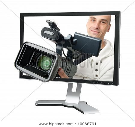 Cameraman In A Computer Monitor