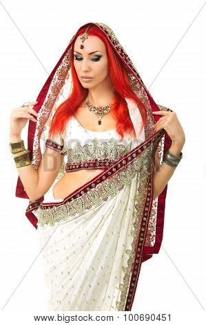 Beautiful Redhead Sexy Woman In Traditional Indian Sari Clothing With Bridal Makeup And Oriental Jew