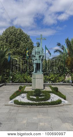 Statue Of Pedro Alvares Cabral, The Navigator Who Discovered The Land Of Brazil, In His Native Town