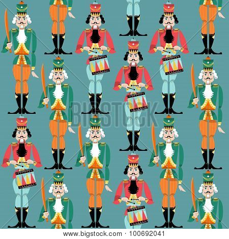 Traditional Christmas Nutcracker. Retro Toys. Seamless Background Pattern.