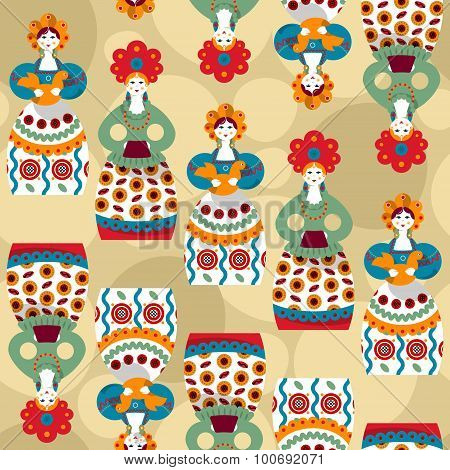 Russian Traditional Handmade Doll. Dymkovo Toys. Russian Souvenir. Seamless Background Pattern.
