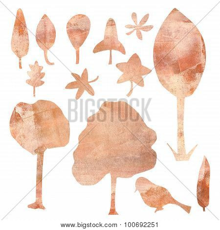 A set of ecologically themed isolated design elements cut out of brown kraft paper